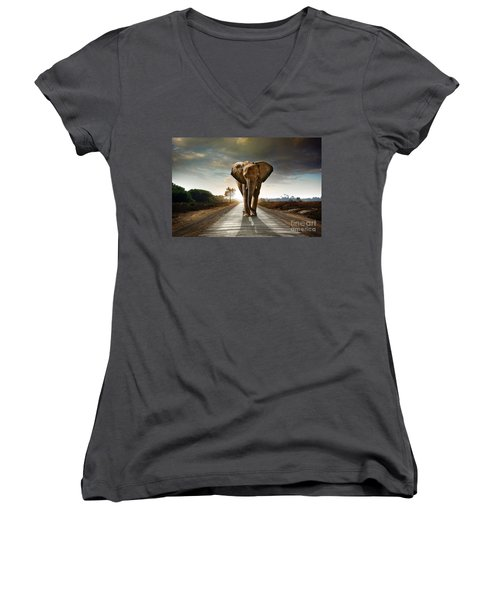 Walking Elephant Women's V-Neck T-Shirt (Junior Cut) by Carlos Caetano