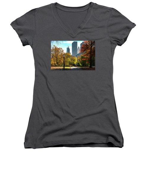 Walking In Central Park Women's V-Neck (Athletic Fit)