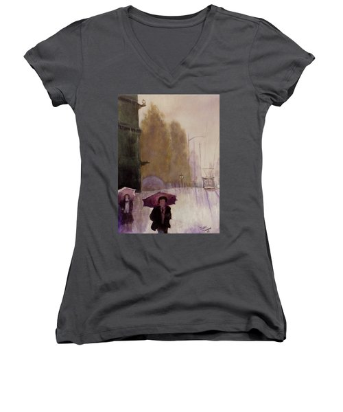 Women's V-Neck T-Shirt (Junior Cut) featuring the painting Walking In The Rain by Dan Wagner