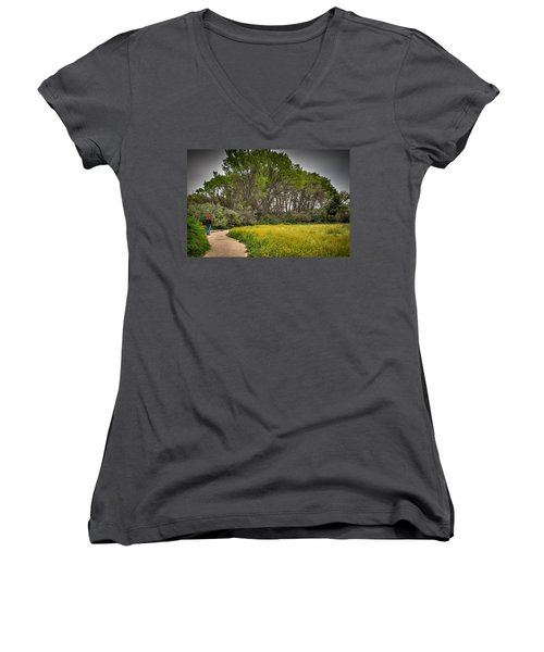 Walking Path In Tall Oak Trees In Spring Women's V-Neck (Athletic Fit)