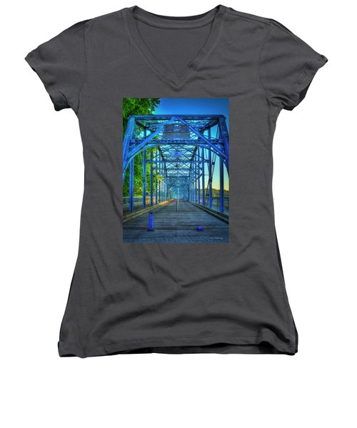 Walking Tall Walnut Street Pedestrian Bridge Art Chattanooga Tennessee Women's V-Neck T-Shirt