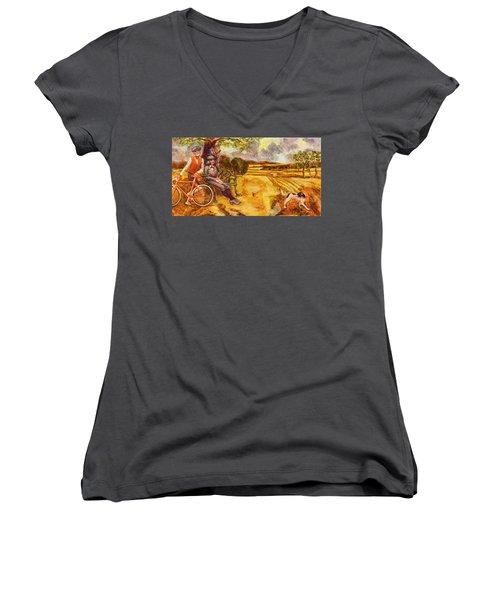 Walking The Dog After Gainsborough Women's V-Neck T-Shirt (Junior Cut) by Mark Jones