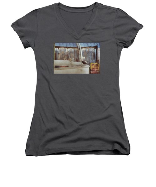Women's V-Neck T-Shirt (Junior Cut) featuring the photograph Walking The Plank by Benanne Stiens