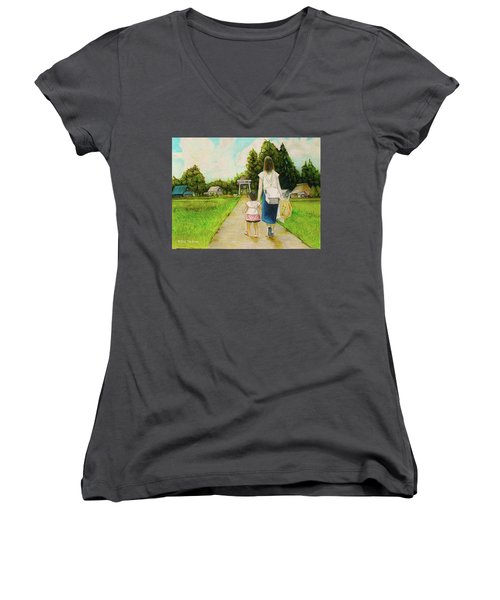 Women's V-Neck T-Shirt (Junior Cut) featuring the drawing Walking To The Shrine by Tim Ernst