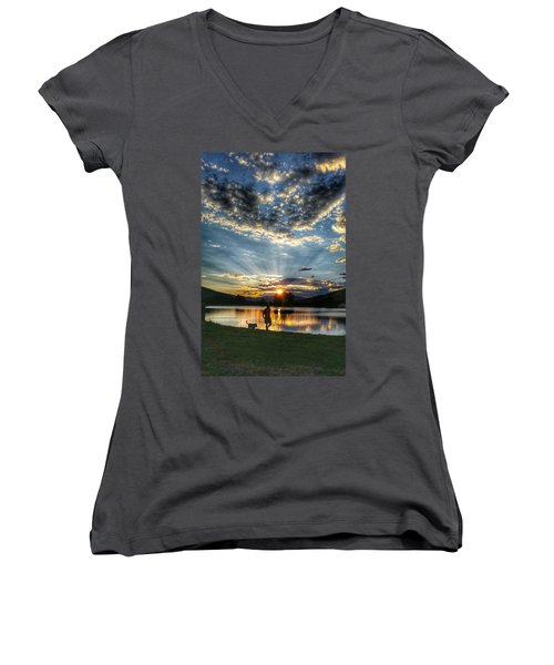 Walking With My Best Friend Women's V-Neck (Athletic Fit)