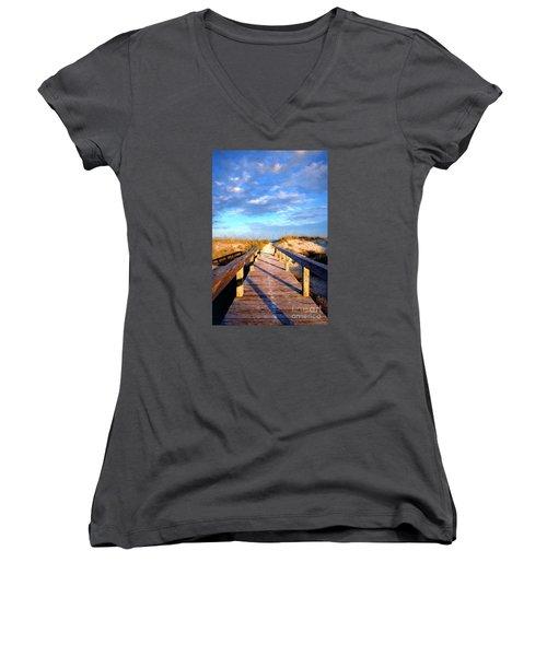 Women's V-Neck T-Shirt (Junior Cut) featuring the digital art Walkway On Pine Painted by Linda Olsen