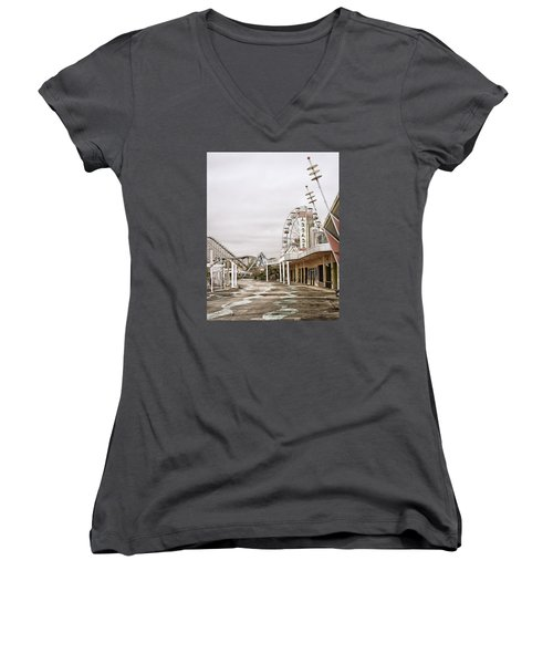 Walkway To The Arcade Women's V-Neck T-Shirt (Junior Cut) by Andy Crawford