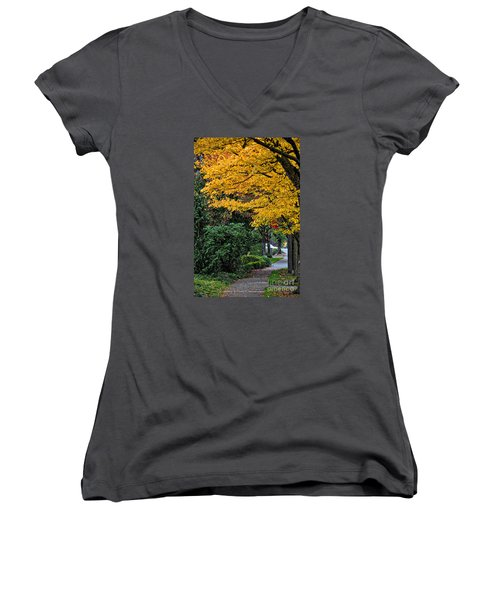 Women's V-Neck T-Shirt (Junior Cut) featuring the photograph Walkway Under A Canopy Of Yellow by Kirt Tisdale