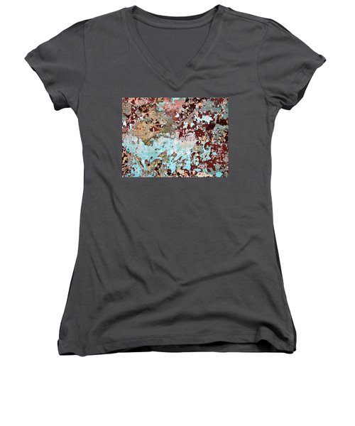 Women's V-Neck T-Shirt (Junior Cut) featuring the photograph Wall Abstract 128 by Maria Huntley
