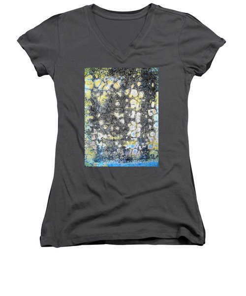 Women's V-Neck T-Shirt (Junior Cut) featuring the photograph Wall Abstract 162 by Maria Huntley