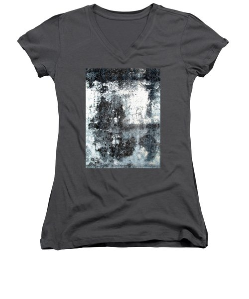 Women's V-Neck T-Shirt (Junior Cut) featuring the photograph Wall Abstract 165 by Maria Huntley