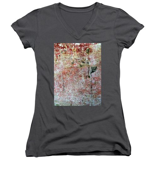 Women's V-Neck T-Shirt (Junior Cut) featuring the photograph Wall Abstract 169 by Maria Huntley