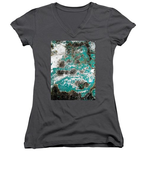 Women's V-Neck T-Shirt (Junior Cut) featuring the photograph Wall Abstract 171 by Maria Huntley
