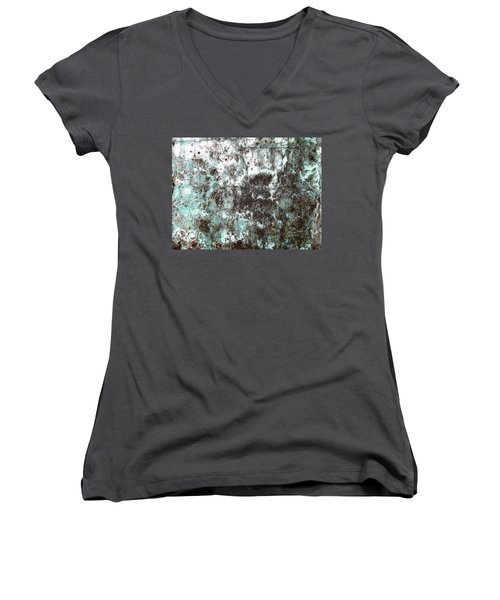 Women's V-Neck T-Shirt (Junior Cut) featuring the photograph Wall Abstract 173 by Maria Huntley