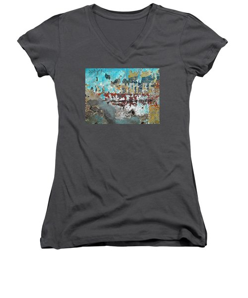 Women's V-Neck T-Shirt (Junior Cut) featuring the photograph Wall Abstract 98 by Maria Huntley