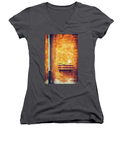 Women's V-Neck T-Shirt featuring the photograph Wall Gutter Vase by Silvia Ganora