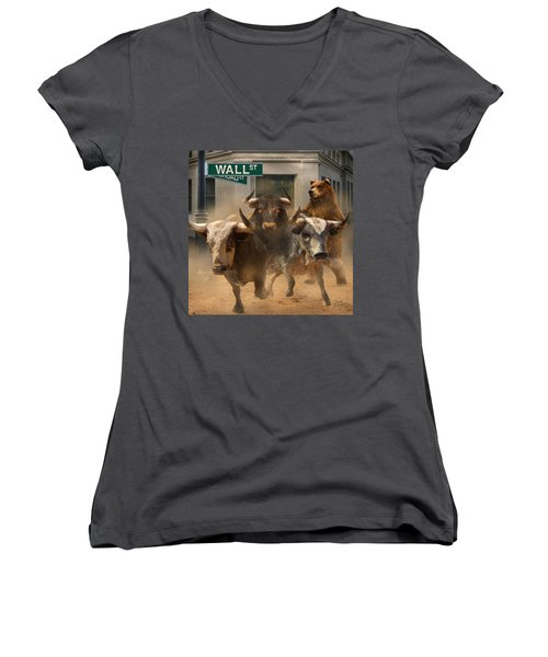Women's V-Neck T-Shirt (Junior Cut) featuring the painting Wall Street -- Bull And Bear Markets by Doug Kreuger