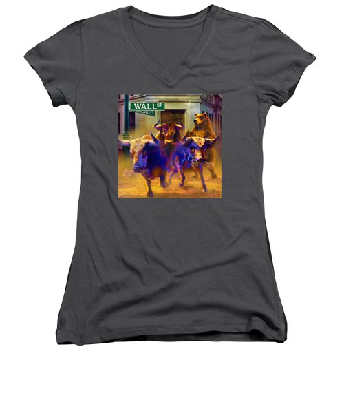 Women's V-Neck T-Shirt (Junior Cut) featuring the painting Wall Street Il by Doug Kreuger