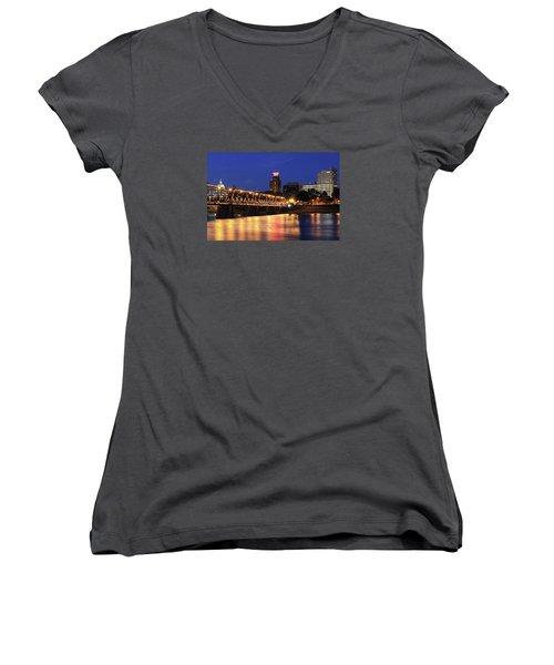 Walnut Street Bridge Women's V-Neck T-Shirt (Junior Cut) by Shelley Neff