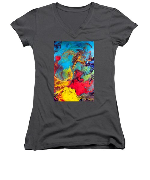 Wanderer - Abstract Colorful Mixed Media Painting Women's V-Neck