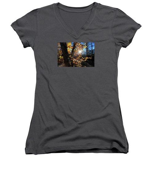 Women's V-Neck T-Shirt (Junior Cut) featuring the photograph Waning Autumn by Gary Kaylor