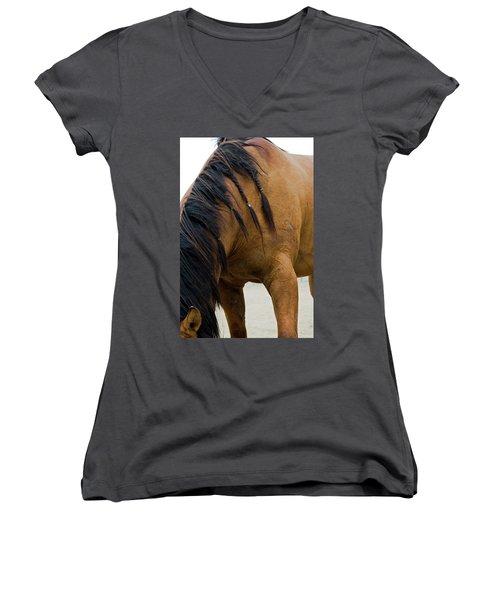 Women's V-Neck featuring the photograph War Horse by Lorraine Devon Wilke