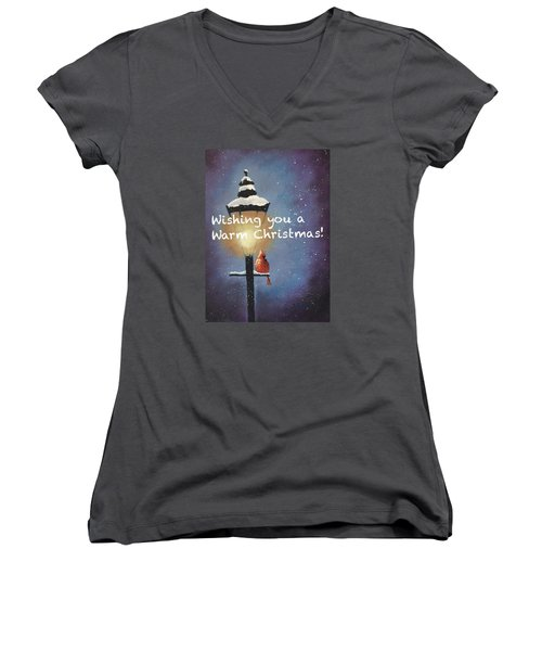 Women's V-Neck T-Shirt (Junior Cut) featuring the painting Warm Christmas by Sharon Mick