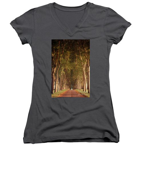Warm French Tree Lined Country Lane Women's V-Neck