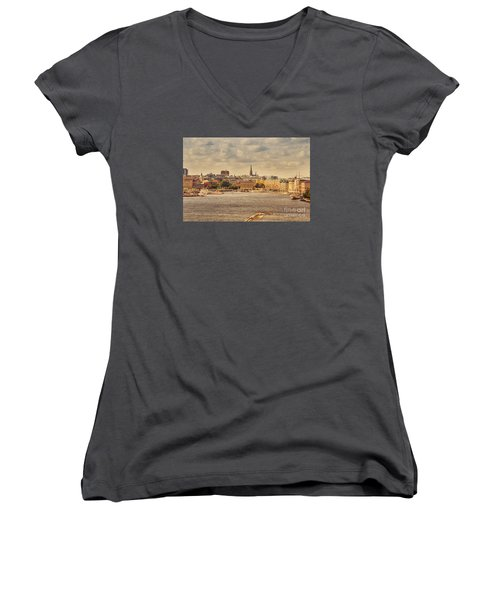 Warm Stockholm View Women's V-Neck T-Shirt (Junior Cut) by RicardMN Photography