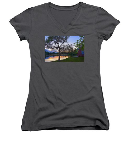 Warming House Women's V-Neck T-Shirt (Junior Cut) by Kate Arsenault