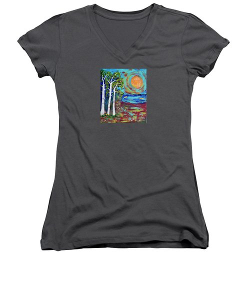 Women's V-Neck T-Shirt (Junior Cut) featuring the painting Warmth Of The Sun by Haleh Mahbod
