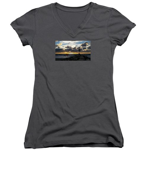 Women's V-Neck T-Shirt (Junior Cut) featuring the photograph Warning Flag At Sunrise by Robert Banach