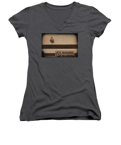 Warning No Diving 2 Women's V-Neck T-Shirt (Junior Cut) by Ernie Echols