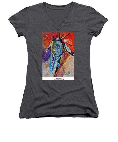 Warpaint Women's V-Neck T-Shirt (Junior Cut) by Ken Pridgeon