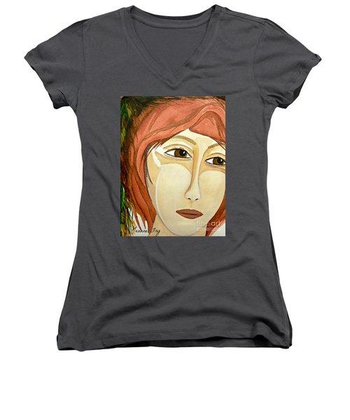 Warrior Woman - No Apologies Women's V-Neck T-Shirt (Junior Cut)