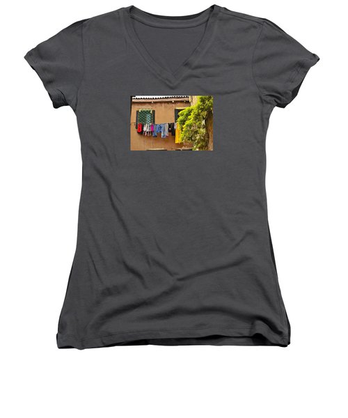 Women's V-Neck T-Shirt (Junior Cut) featuring the photograph Wash Day In Venice by Richard Ortolano