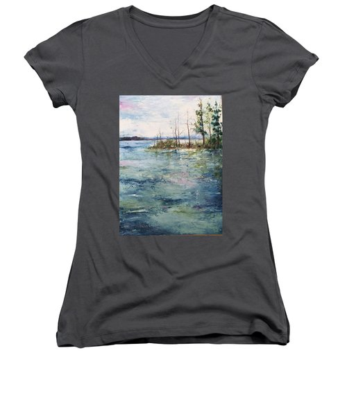 Washed By The Waters Series Women's V-Neck T-Shirt (Junior Cut) by Robin Miller-Bookhout