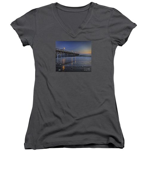 Women's V-Neck T-Shirt (Junior Cut) featuring the photograph Washed Clean by Mitch Shindelbower