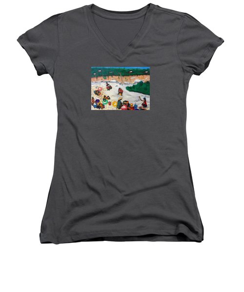 Washing Clothes By The Riverside In Haiti Women's V-Neck T-Shirt (Junior Cut) by Nicole Jean-Louis