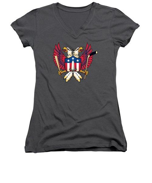 Washington Dc-double Eagle Sports Fan Crest Women's V-Neck (Athletic Fit)