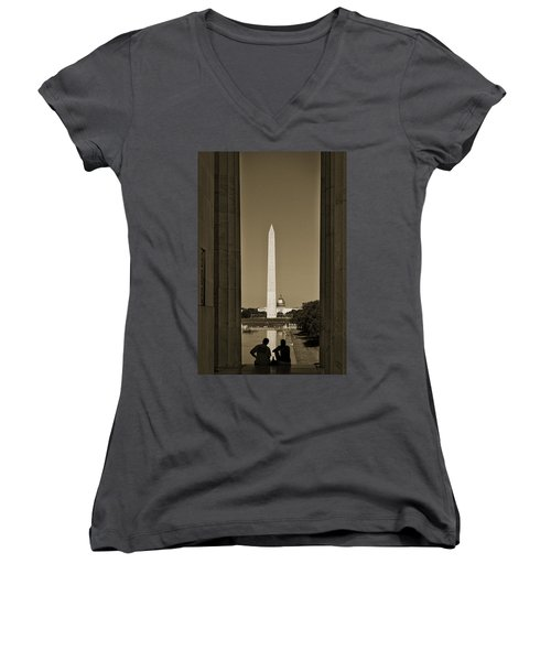 Washington Monument And Capitol #4 Women's V-Neck
