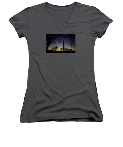 Washington Monument At Twilight With Moon Women's V-Neck