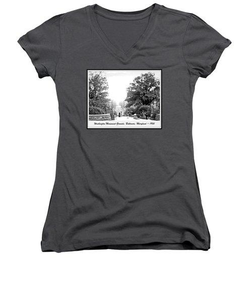 Washington Monument Grounds Baltimore 1900 Vintage Photograph Women's V-Neck