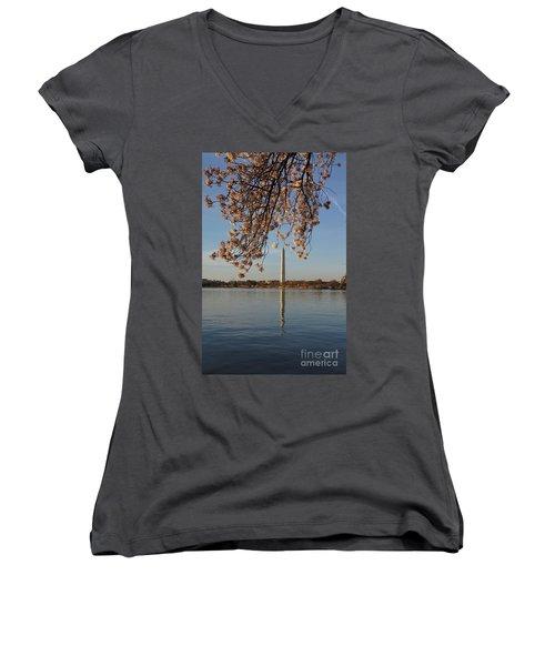 Washington Monument With Cherry Blossoms Women's V-Neck T-Shirt (Junior Cut) by Megan Cohen