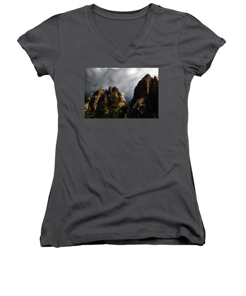 Women's V-Neck T-Shirt (Junior Cut) featuring the photograph Washington Profile 001 by George Bostian