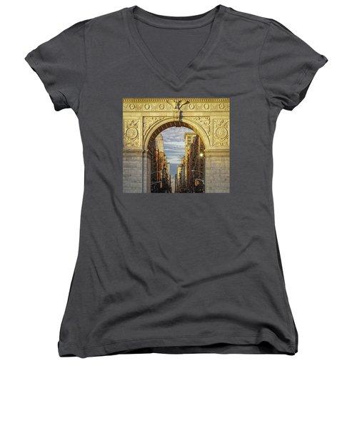 Washington Square Golden Arch Women's V-Neck (Athletic Fit)