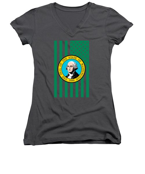 Washington State Flag Graphic Usa Styling Women's V-Neck T-Shirt (Junior Cut)
