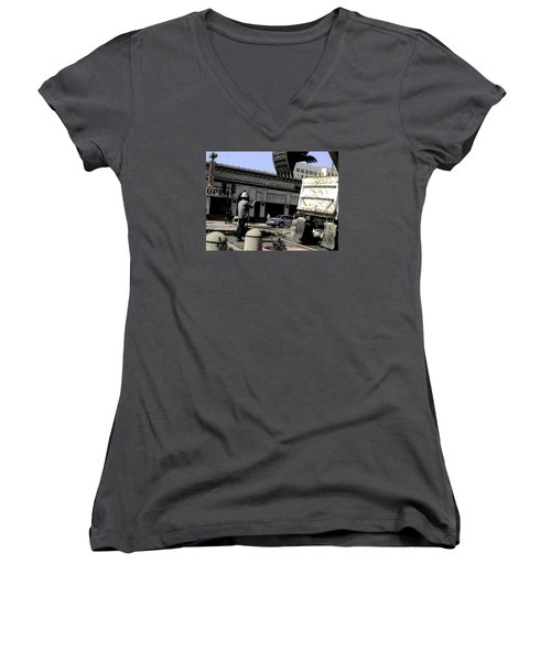Watch It Bud Women's V-Neck T-Shirt (Junior Cut)