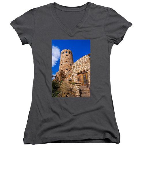 Women's V-Neck T-Shirt (Junior Cut) featuring the photograph Watch Tower by Jerry Cahill