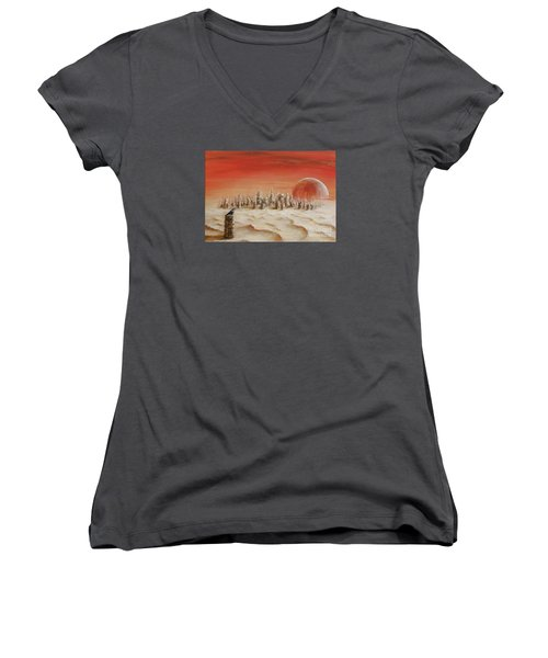 Women's V-Neck T-Shirt (Junior Cut) featuring the painting Watcher by Arturas Slapsys